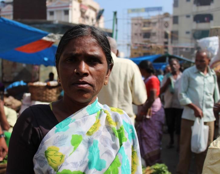 Vegetable vendor at Rythu Bazar
